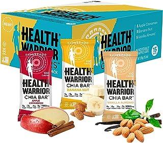 Health Warrior Chia Bars, Breakfast Variety Pack, Gluten Free, Vegan, 25g Bars, 15 Count