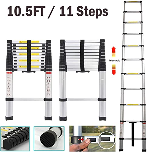 lowest Telescoping Ladder 10.5FT Aluminum Extension Folding Multi-Purpose high quality Steps with Soft Close Locking System EN131 Certified high quality 330 lbs Load Capacity sale