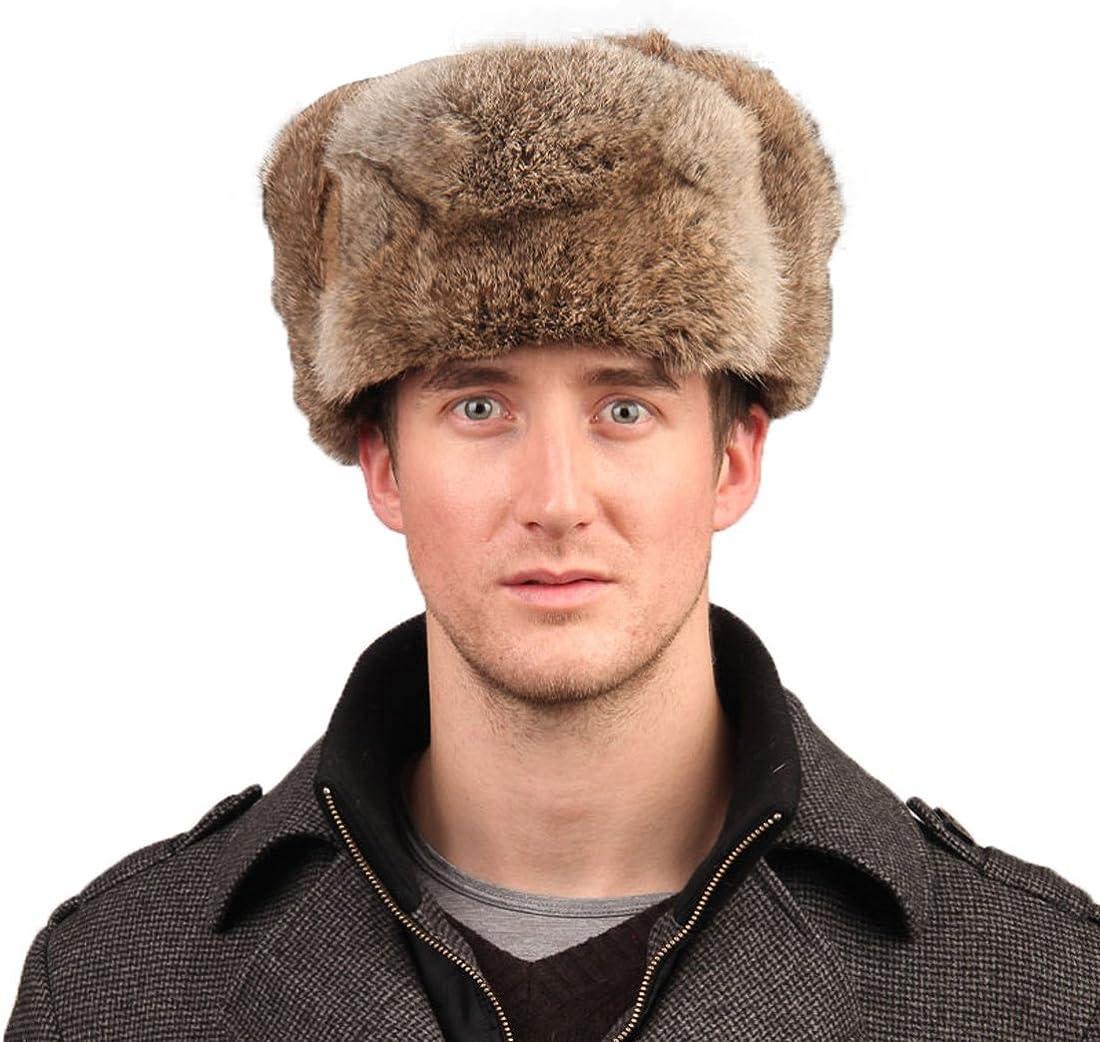 URSFUR Men's Rabbit Full Fur Russian Ushanka Trooper Hats Multicolor