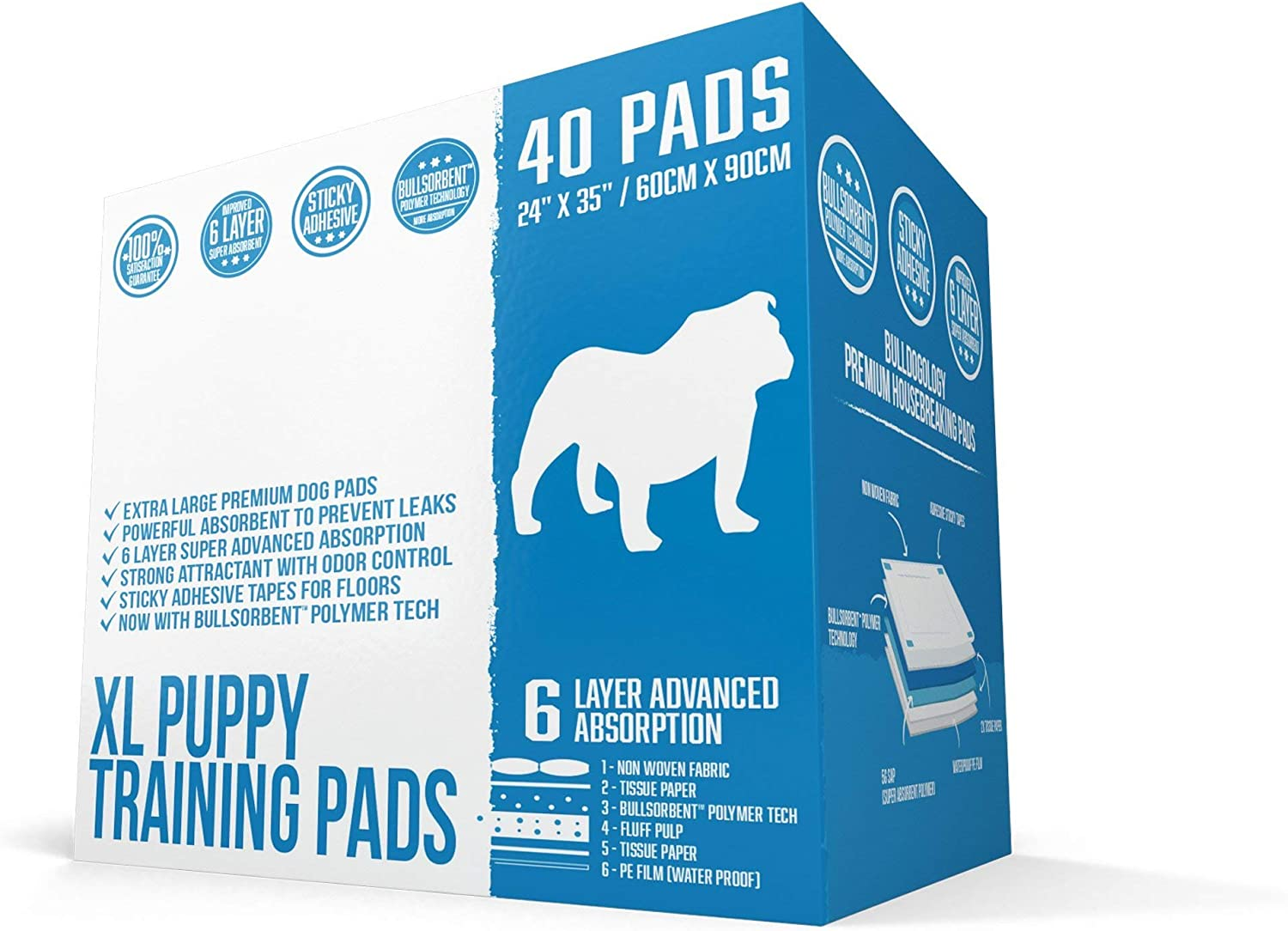 Bulldogology Puppy Pee Pads XL with Adhesive Sticky Tape  30 Extra Large Dog Training Premium Wee Pads (24x35) 6 Layers with Extra Quick Dry Bullsorbent Polymer Tech