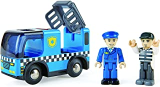 Hape Police Car with Siren   3Piece Cops & Robbers Play Set with Action Figures Multicolor, L: 3.7, W: 2, H: 1.4 inch