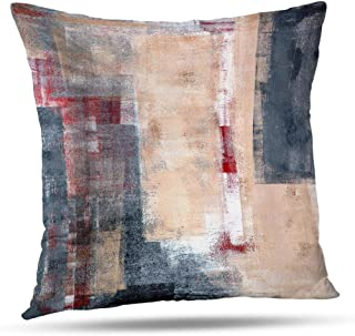 Alricc Beige Grey and Red Abstract Art Pillow Cover, White Black Gallery Decorative Throw Pillows Cushion Cover for Bedroom Sofa Living Room 16X16 Inches