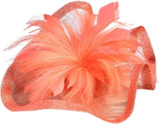 Wiwsi Women Wedding Party Feather Floral Fascinator Hat Hair Clip Accessories