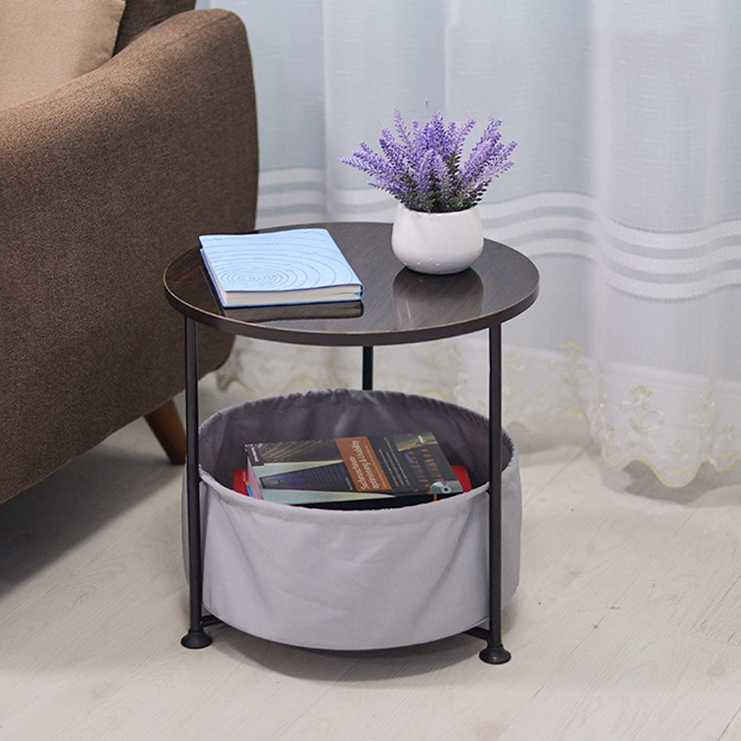 ZZHF zhuozi Folding Table Round Bedside Table 7 color Optional Size Optional (color   C)