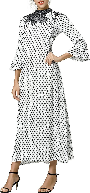 Baya Women's Formal Floral Lace Long Sleeve Maxi Dress Polka dot Print Vintage Muslim Robe Kaftan