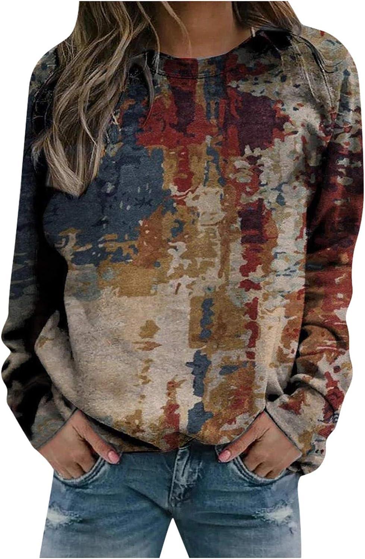 Womens Long Sleeve Tops,Womens Long Sleeve Crewneck Sweatshirts Loose Vintage Tie-Dye Printed Thermal Pullover