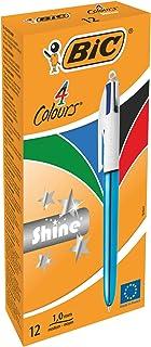 BIC 9498964colores shine–Bolígrafo color azul metálico cuerpo (Pack de 12)