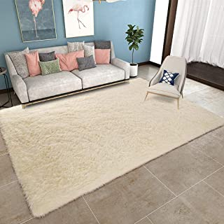 YOH Modern Area Rug Soft Shag Rug Anti-Slip Plush Carpets Home Decor 5'3''x7'5,Beige