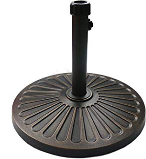 "Sunnyglade 18"" 30.2-lbs Outdoor Living Heavy Duty Round antiqued Patio Umbrella Base (Bronze)"