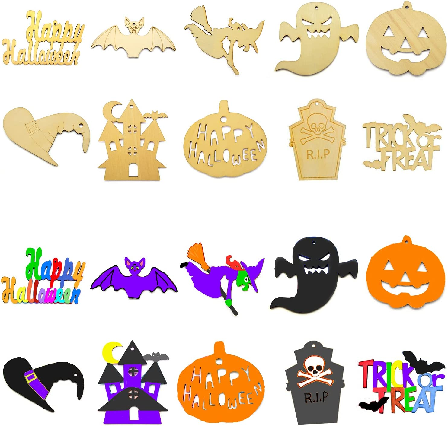 50 PCS Halloween Super beauty product restock quality top Wooden Slices Arts DIY Crafts Unfini Factory outlet