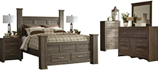 Ashley Juararo 6PC Queen Storage Bedroom Set With Two Nightstand & Chest In Dark Brown