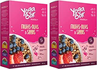 Yogabar Muesli Fruit and Nuts - Wholegrain Breakfast Cereals with Oats and Dry Fruits, High in Omega 3, Gluten Free Vegan ...