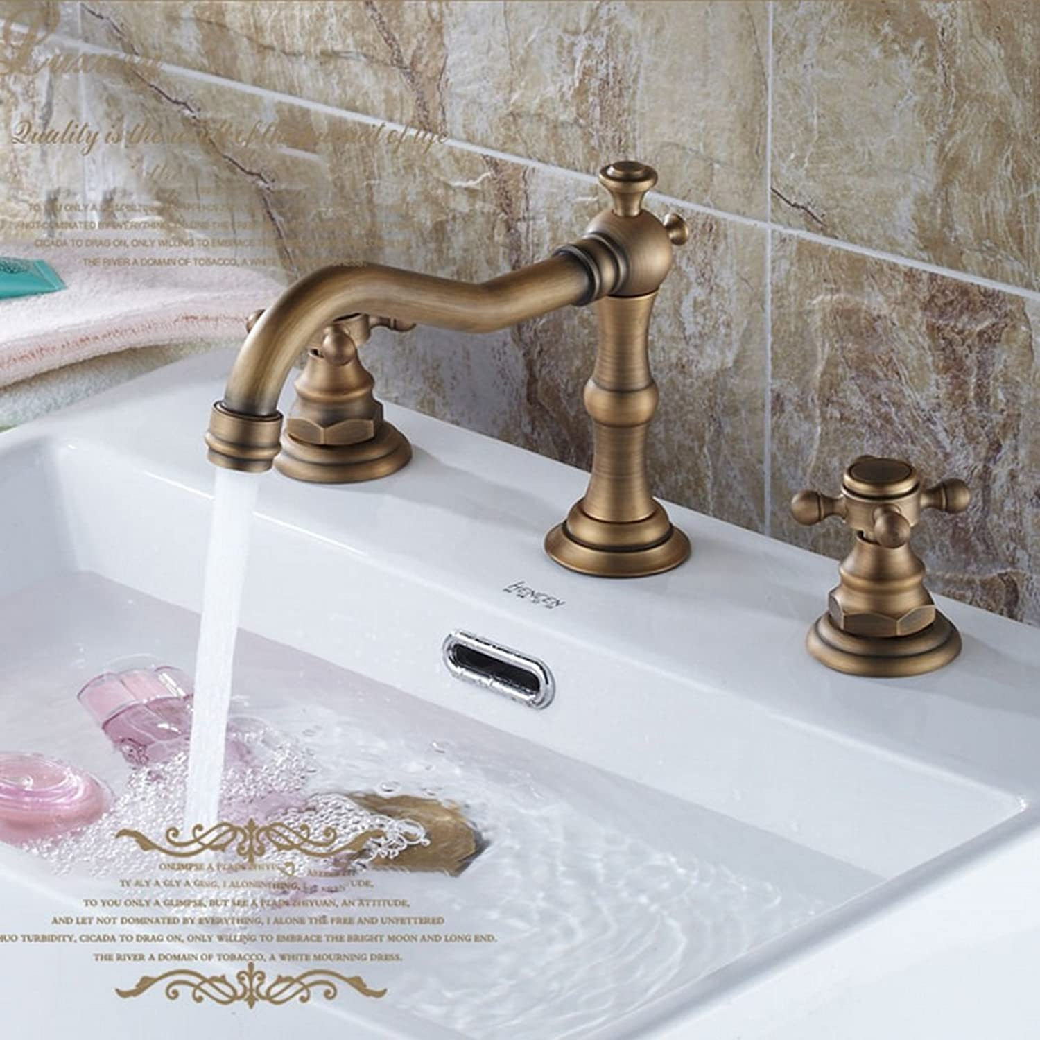 MEILING Full Copper Three Holes Hot And Cold Basin Faucet Leading European Antique Faucet Basin Faucet