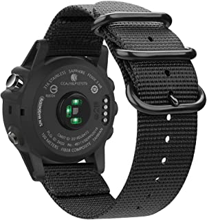 Fintie Band for Garmin Fenix 5X Plus/Tactix Charlie Watch, 26mm Premium Woven Nylon Adjustable Replacement Strap for Fenix 5X/5X Plus/3/3 HR/Garmin Tactix Charlie Smartwatch - Black