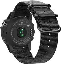 Fintie Band for Garmin Fenix 6X / Fenix 5X Plus/Tactix Charlie Watch, 26mm Premium Woven Nylon Adjustable Replacement Strap for Fenix 6X 5X/5X Plus/3/3 HR/Garmin Tactix Charlie Smartwatch - Black