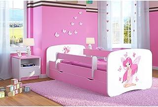 Bjird Lit d'Enfant Complet 70x140 80x160 80x180 sommier tiroir barrierères pour Filles garçons lit Simple - Rose - fée ave...