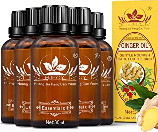 5 Pack Ginger Oil,100% Pure Natural Lymphatic Drainage Ginger Oil,SPA Massage Oils,Repelling Cold and Relaxing Active Oil-...