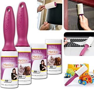 Metkix Lint Rollers for Pet Hair Remover,Extra Sticky -Upgraded Handles- Pet Lint Brush Fur Lint Remover,Cat Dog Hair Remover for Furniture and Clothes Total 240 Sheets