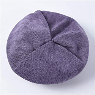 SHENTIANWEI Summer Thin Beret Female Literary Retro Solid Color Knit Painter hat Student Wild fold Crepe Cap (Color : Purple)