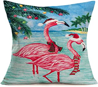 Xihomeli PinkFlamingo Farmhouse Pillow Covers 18x18 Inch Cotton Linen Animals Wear Santa Hats Decorative Pillow CoverCoastal Beach Pillow Case Outdoor Decor Home Sofa Couch(Flamingo 02)