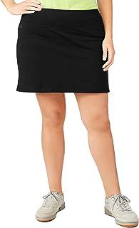 Danskin Now Women's Plus Size Adjustable Waist Hidden Pocket Basic Knit Skort