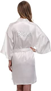 Women's Bride Bridesmaid Robes Short Kimono Robe Dressing Gown for Wedding