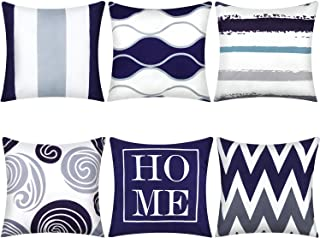 Boao 6 Pieces Geometric Line Pillow Covers Square Pillow Case Decorative Cushion Cover for Car Sofa Home Indoor Outdoor Decor, 18 x 18 Inches