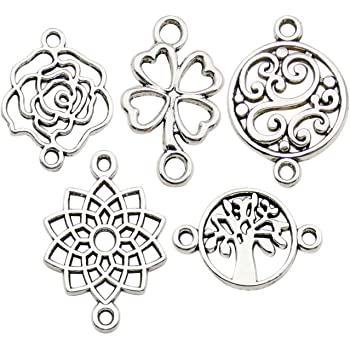 Lot 50pcs Flower Antique Silver Charms Pendant Connector DIY Jewelry Findings