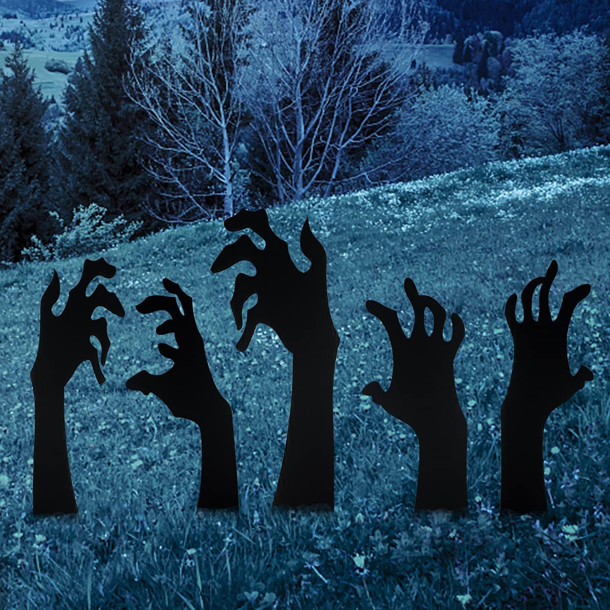 Anditoy 5 Pack Halloween Black Hands Yard Signs with Stakes Scary Silhouette Halloween Decorations for Outdoor Yard Lawn Garden Halloween Decor