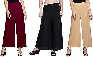 Belha Women's Stretchy Malia Lycra Wide Leg Palazzo Pants (Free Size, Pack of 3)