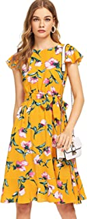 Women's Floral Print Ruffle Tie Waist Summer Chiffon Dress