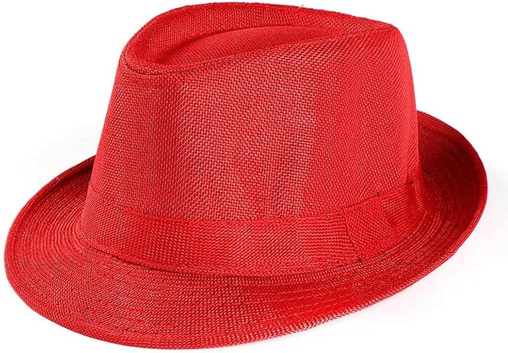 Kimloog Women Men's Summer Short Brim Straw Fedora Beach Sun Hat Jazz Cap