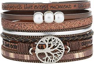 YOOCOOL Tree of Life Leather Multi-Layer Wraps Bracelet,Boho Wide Buckle Wristband Bangle,Braided Cuff Bracelets for Women