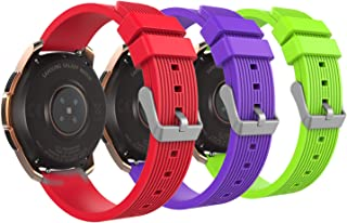 MoKo Band Compatible with Samsung Galaxy Watch 42mm/Galaxy Watch Active/Active 2/Galaxy Gear S2 Classic/Ticwatch E/2/Vivoactive 3, 3-Pack 20MM Silicone Replacement Sport Strap- Red&Green&Purple