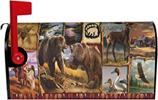 DZGlobal Magnetic Mail Cover Letter Post Box Decorations Retro America Bear Indian Tribe Magnetic Mailbox Covers Home Decor 21x18 in