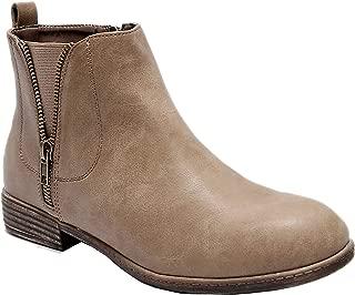 Women's Wide Width Ankle Boots, Classic Low Heel Side Zipper Comfortable Chelsea Booties.