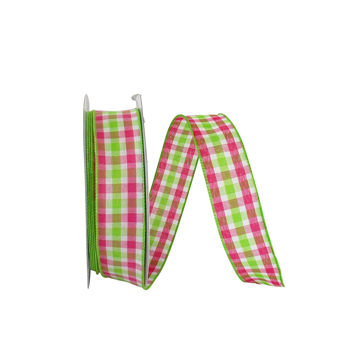 Reliant Ribbon 93090W-433-09K Plaid Watermelon Value Wired Edge Ribbon, 1-1/2 Inch X 50 Yards, Lime/Pink