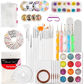 124 Tips Nail Art Kit, Yokilly DIY Nail Decoration Supplies Kit, Glitter Rhinestones, Nail Tip Line Sticker Decal, Dotting Pen, Nail Dried Flowers, Clean Brush, Nail Design Supplies with Gift Box