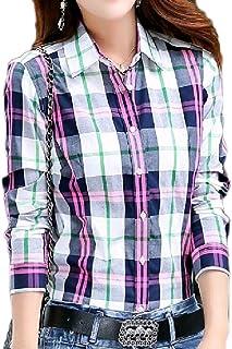 Fiere Womens Cozy Breathable Turn Down Collar Button Down Shirt