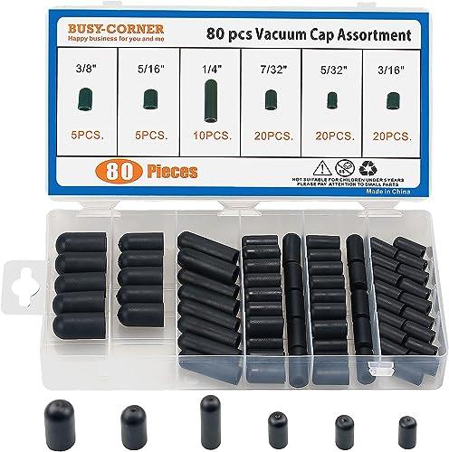 "Vacuum Cap Assortment,Black Rubber, from 5/32"" to 3/8"" Sizes,Hose Caps Kit for Carburetor,Manifold (80 Pieces Kit)"