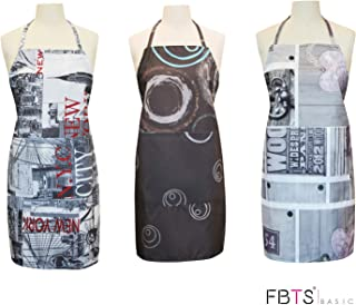 FBTS Prime Cute Apron Kitchen Sets 3 Pack for Women and Men Water Resistant Adjustable Buckles with Two Big Front Pockets (Modern)