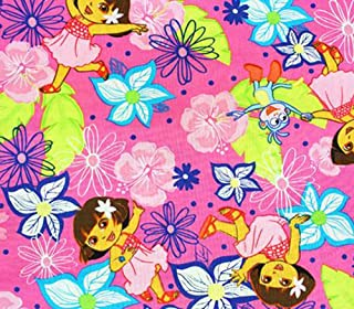 New Pink Dora Day Dream All Over 100/% cotton fabric by the 1//2 yard