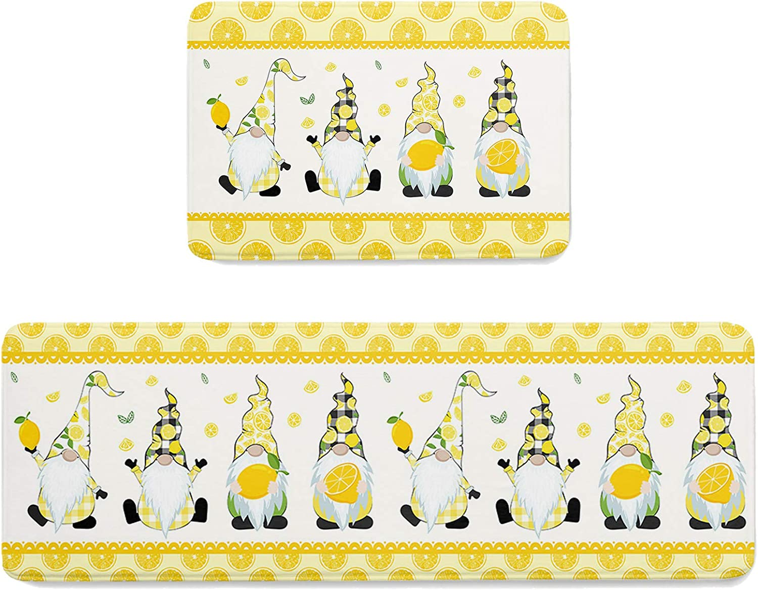 LALADecor 2 Piece Kitchen Rugs Daily bargain sale and Ye Farm Fresh Cute Mats Lemon Shipping included