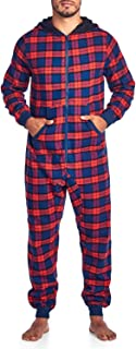 Men's Flannel Hooded One Piece Pajama Union Jumpsuit