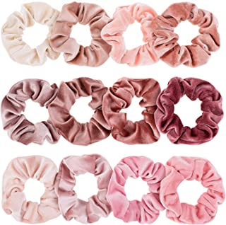 Whaline Blush Theme Hair Scrunchies Velvet Winter Elastics Pink Lovers Scrunchy Bobbles Soft Hair Bands Hair Ties Hair Accessories for VSCO Girls or Women (12 Blush)