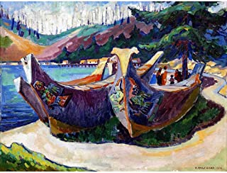 Painting Carr First Nation War Canoes Alert Bay Art Print Poster Wall Decor 12X16 Inch