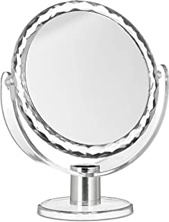 Relaxdays Magnifying Vanity Mirror, Round Standing Makeup Mirror, Cosmetics, Two-Sided, HWD: 23 x 19 x 10 cm, Transparent