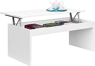 Habitdesign 001638BO - Mesa de centro elevable, mesita mueble salon comedor, modelo Zenit, acabado en color Blanco Brillo, medidas: 102 X 50 X 43/52 cm de alto