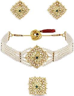 Zaveri Pearls Gold Tone Multistrand Pearls Choker Necklace Earring & Ring Set For Women-ZPFK10771