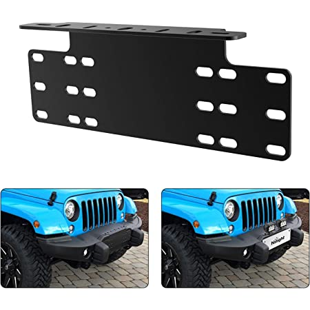 Nilight 90044B Universal License Heavy Duty Steel Front Plate Mounting Bracket Holder for Off-Road LED Work Lamps Lighting Bars, 2 Years Warranty
